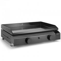 Plancha Gaz Forge Adour Base 2 Bruleurs 6400 W 60 cm Acier Plaque en Fonte Emaillée