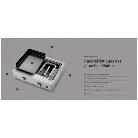 Plancha Gaz Forge Adour Modern G60 2 Bruleurs 7000 W Acier Plaque en Fonte Emaillée