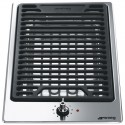 Domino Smeg Elite Semi-flush 30 cm stainless steel Barbecue and Grill in cast iron