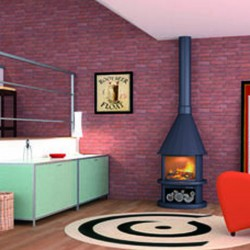 Round Chimney on Foot FocGrup 9kW open fire 35