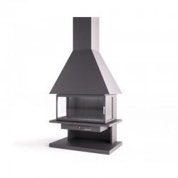 面福格鲁普钢烟囱与玻璃门和耐火砖