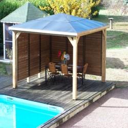 Kiosque de Jardin Blueterm en bois 12.32 m2 avec 2 Parois Habrita