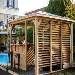 Kiosque de Jardin Blueterm bois 12.32 m2 avec Comptoirs et 2 Parois Habrita