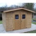 Thermabri Garden Shelter in Solid Wood of 10.33 m2 with Onduline Habrita Roof