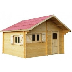 Semi-habitable garden shelter in Habrita Solid Wood of 20 m2 with 60mm more
