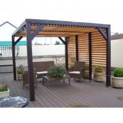 Habrita wooden Pergola with removable Ventelles on Roof and a side 348x310x232 Veneto