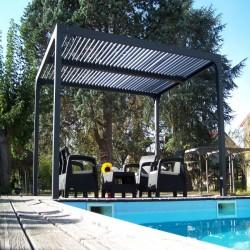 Pergola Bioclimatic aluminium anthracite 10.80 m2 and roof with oval blades Habrita