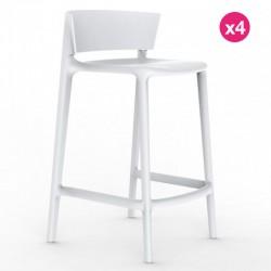 Lot de 4 tabourets plan de travail Vondom Africa hauteur d'assise 65 cm Vondom blanc