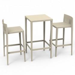 Ensemble Spritz table et 2 tabourets Vodom hauteur d'assise 76cm écru