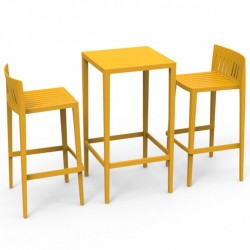 Ensemble Spritz table et 2 tabourets Vondom hauteur d'assise 76cm jaune