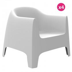 Lot de 4 Fauteuils Lounge Solid Vondom blanc