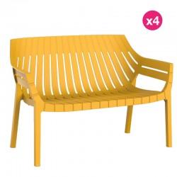Set of 4 sofas Vondom Spritz mustard yellow