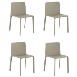 Lot de 4 chaises Vondom Kes écru